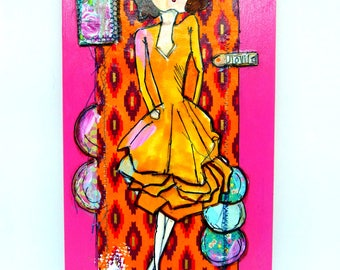 Art, Cradled Panel, Mixed Media,Voila