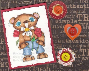 1583 Bearly a Bouquet Digi Stamp