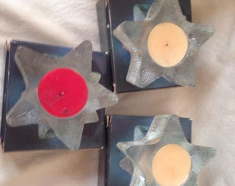 Lot of 3 AVON1980 STARBRIGHT Fragrance Candles Clear Glass Holders 2 White 1 Red 4th of July Party