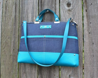 Chic Blue Denim and Turquoise Twill zipper closure purse, double strap handbag shoulder bag, with leather straps and personalized initial