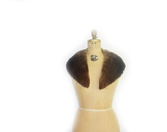vintage Beaver fur collar -Brown fur collar