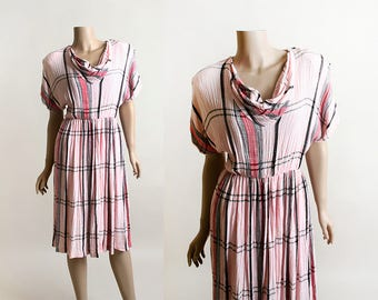 Vintage Pink Plaid Dress - Madras Style Dress - Cowl Neckline - Pastel and Black - Gauzy Style Cotton - 1980s Dress - Medium