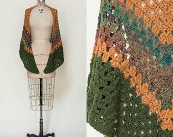 Vintage Crochet Shawl --- 1970s Fall Wrap