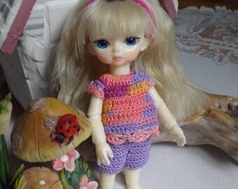 Crochet clothes outfit BJD Hujoo 4.7  5 inches doll Capri Pants Top Headband Purple Pink Orange Pearl