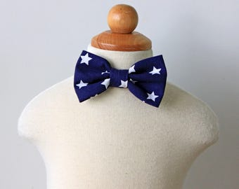 Navy Stars Bow Tie, Boy, Baby, Toddler, Kids, Ring Bearer, Patriotic 4th of July, Independence Day