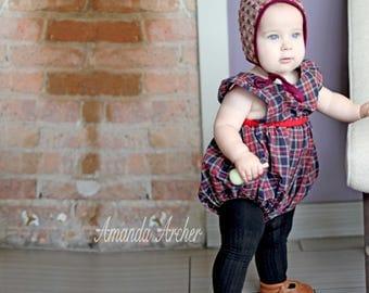 Winter Bonnet, Baby Bonnet, Toddler Bonnet, Wool Bonnet, Pom Bonnet, Cranberry Bonnet, Maroon Bonnet, Tweed Bonnet, Winter Hat for Baby