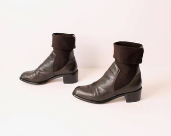 size 6 CHELSEA brown leather 80s 90s ELASTIC CUFF pull on ankle boots