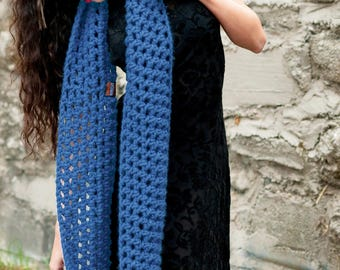 STEEL Mega xL CONTINUITY Scarf Blue Denim Huge Chunky Knitted Wrap Crochet Warmer Made to Order Holiday Gift for Him Her or Them Unisex USA