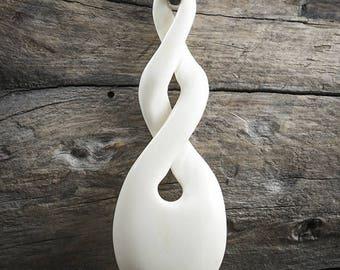 Maori Twist Pendant Necklace, Bone Pikorua, Twist Pendant, Mens Leather Necklace, Surfer Necklace, Relationship, Friendship, Love, Eternity