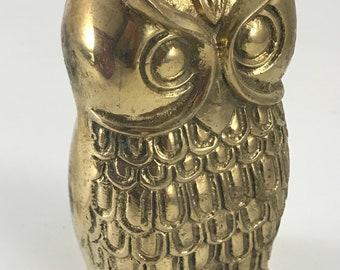 Vintage Solid Brass Owl