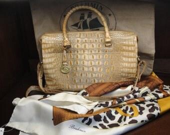Vintage Brahmin Leather purse, Melbourne Collection Hand Crafted Italian Leather, Long removable handle, Bonus Brahmin silk scarf + dust bag