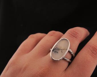 Sterling silver and dendrite agate - Hammered double band - Natural Stone - Oxidized Ring - Size 6.5 - Gifts for her - Poetic jewelry