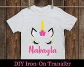 DIY Printable Iron on Transfer: Unicorn. Any name and Any Age. Personalized. Custom name. Digital file or Printed Iron on Transfer