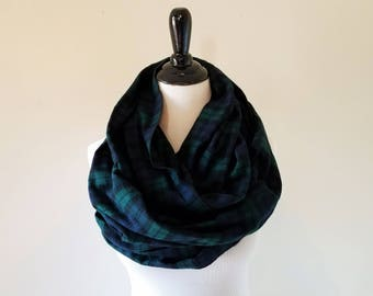 Plaid Scarf - Green Plaid Scarf - Black Watch Plaid Scarf - Plaid Scarf Infinity - Tartan Plaid Scarf - Women's Scarf