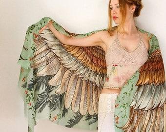 SALE Silk Scarf, Wedding Shawl, Wings Scarf, Summer Scarf, Digital Print Sarong, Boho Hand Painted Feather Shawl, Girlfriend Gift, Silk Wrap