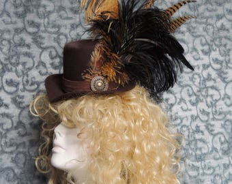 Dramatic Brown and Black feathered Victorian Steampunk Hat / Goth Mini Riding Hat OOAK