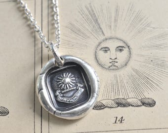 sun pendant - radiant sun wax seal necklace - I advance - fine silver antique French wax seal jewelry