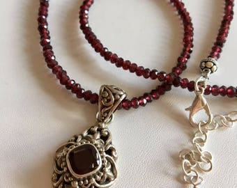 Red Garnet Pendant Necklace-Bali Silver Pendant Necklace