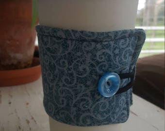 Wrap Around Coffee Sleeve - Two Toned Blue Swirl