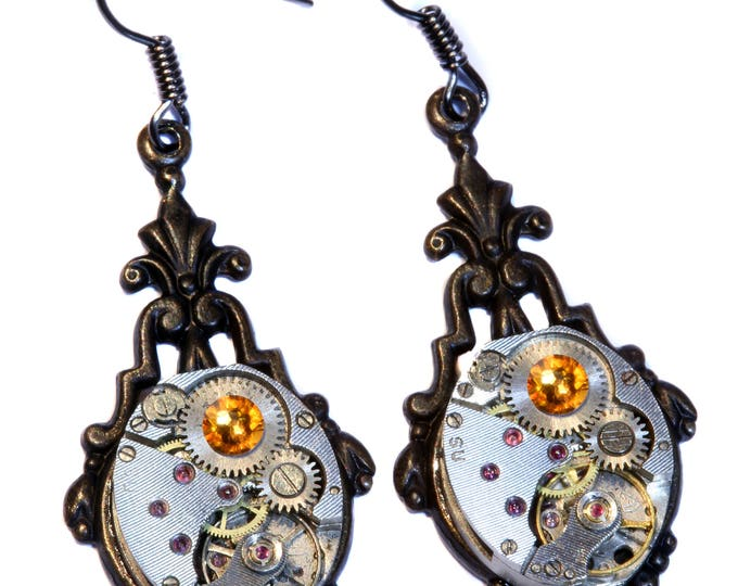Steampunk Earrings - Topaz Swarovski Crystal