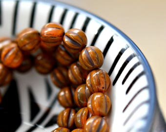 Little Latte - Premium Czech Glass Beads, Opaque, Translucent Burnt Orange, Brown Wash, Ribbed Baby Melon Rounds 6mm - Pc 25