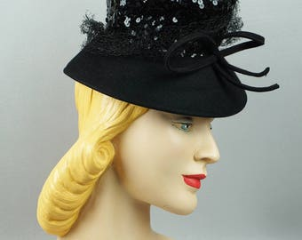 1940s Vintage Tilt Hat Black Felt Brim with Sequin Crown NY Creations