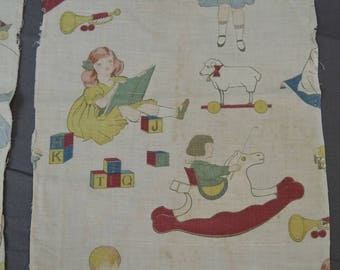 Vintage 1920s 1930s Children Print Fabric, 2 small Remnants, Novelty Print Cotton, Children Playing