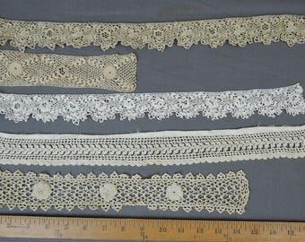 5 Antique Crochet Lace Trims, Handmade Edwardian 1900s Crochet Trim, Vintage Lace Remnants