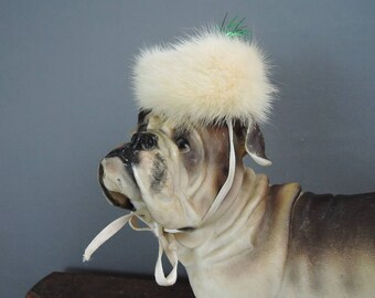 Vintage DOG Hat custom made 1960s, Ivory Mink Fur hat for Tiny Dog with 8 inch head, Bullock's Wilshire