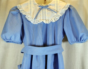 Girl's Sylvia Whyte Vintage Blue Gingham Lace Collared Dress with White Pilgrim Lace Collar -  Size 12
