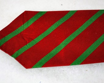 Vintage Christmas Striped Red and Green Silk Tie by One Up for Neiman Marcus