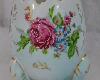 NAPCOWARE Vase Porcelain Tri-Footed Egg Shaped Floral Rose Bowl - Hand Painted