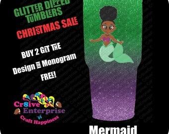 Mermaid Glitter tumbler glossy finish Sealed