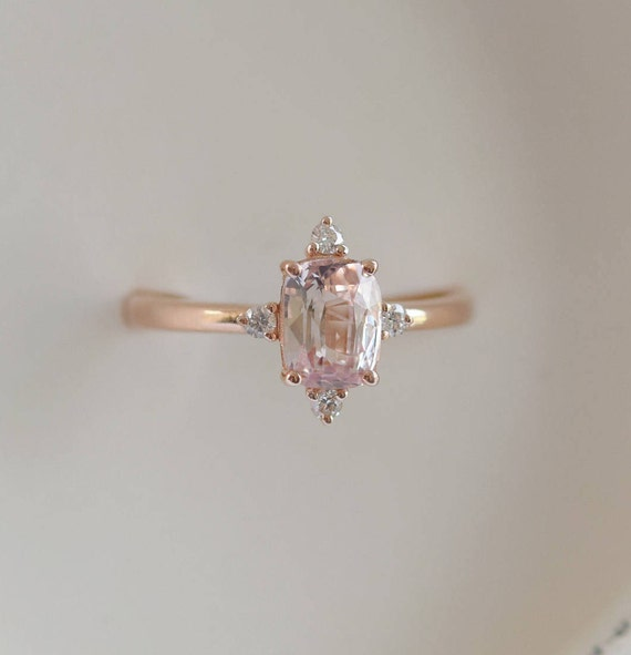 Rose gold engagement ring. Peach sapphire 1.4ct peach champagne sapphire 14k rose gold diamond ring by Eidelprecious