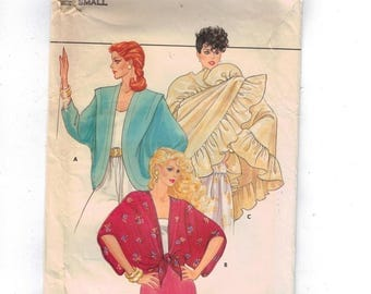 1980s Vintage Sewing Pattern Butterick 4658 Misses Cover Ups and Shawl Jacket Ruffle Size 8 10 Small Bust 31 32 80s