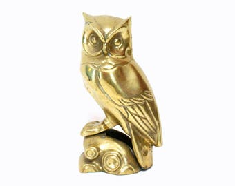Vintage Brass Owl Figurine or Bookend Perched on Base
