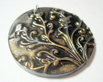 Tree Chirping Birds Black Silver And Gold Handmade Polymer Clay Pendant