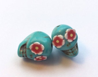 Turquoise and Red Flower Eyes in Day of The Dead Sugar Skull Beads-13mm