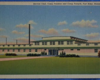 Service Club Camp Funston and Forsyth Fort Riley Kansas Linen Postcard Unused