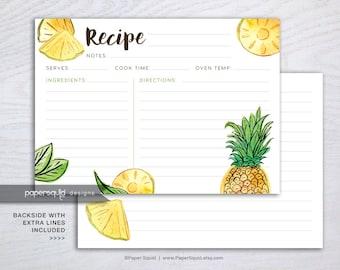 Pineapple Recipe Card, Fruit Recipe Card, Tropical recipe card, Digital Recipe Card, 5x7 inches, Printable File Instant download - #195