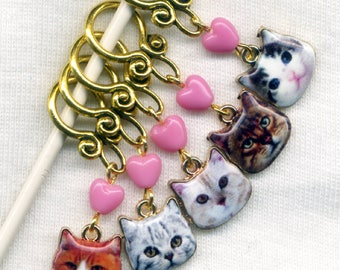 Sassy Cat Knitting Stitch Markers Tabby Persian Ginger Cats enameled Set of 5/SM259