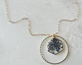 Blue Queen Annes Lace Necklace Pressed Flower Jewelry Botanical Jewelry Bridal Jewelry 14k gold fill