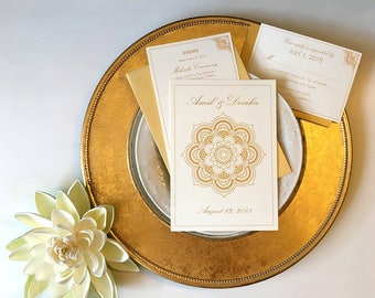 Wedding Invitation, RSVP and Events Set - Faux Gold Ink, Gold Foil Option on Ivory with Lotus Mandala - Hindu Ceremony - Chakra Collection