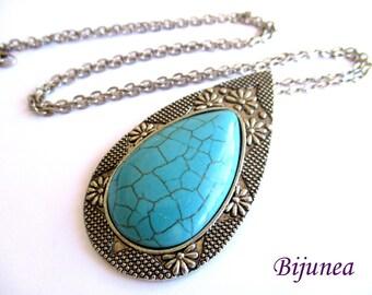 Turquoise teardrop pendant necklace n813