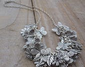 Silver Charm Necklace - Butterflies, Flowers and Leaves