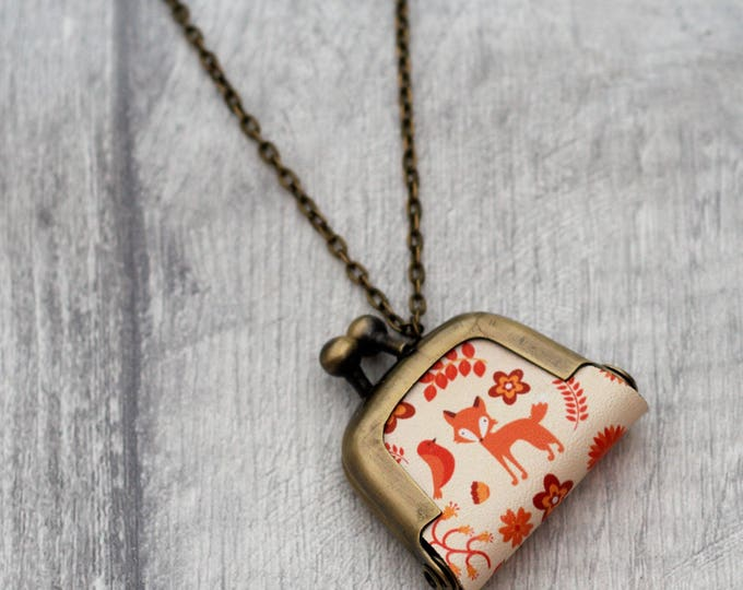 Fox Coin Purse Necklace, Vixen Necklace, Woodland Jewelry