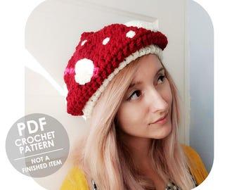 crochet pattern - chunky mushroom hat - toadstool hat - slouchy mushroom beret - super bulky crochet hat - crochet halloween costume