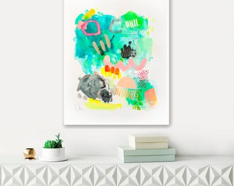 Abstract painting, watercolor original, colorful painting, green, large paper painting, abstract watercolor, wall decor, gift for her