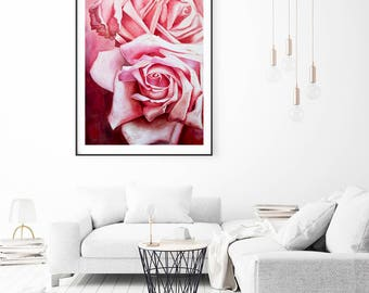 Floral art, roses painting print, flower art print, nature wall decor, large wall art giclee print, roses wall art
