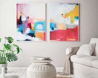 Set Of 2 Abstract Large Prints, Acrylic Abstract Painting Giclee Of  Original Wall Art,
